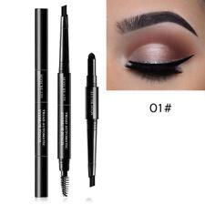 Beauty 3 in 1 Multi Functional Eye Brow Pencil Powder Brush Kit Makeup Tools 01#black