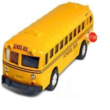 """5"""" Vintage Coach School Bus Diecast Pull Back Action Opening Door Stop Sign"""