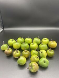 """21 Pc Lot Craft Faux Decorative Artificial Small Light Green Apples 1""""-1.5"""""""