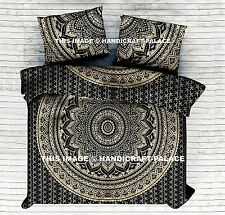 Super King Size Black Gold Ombre Mandala Bed Cover Indian Bedding Bedsheet Throw
