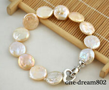 "pink freshwater pearl bracelet 8"" 15mm coin baby"