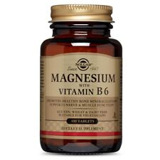 Solgar Magnesium with Vitamin B6 - 100 Tablets FRESH, FREE SHIPPING, MADE IN USA
