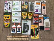 Large Lot Kids School Supples Crayons Pencils Calculator Glue Sticks Markers