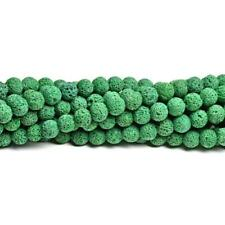 Lava Rock Stone Round Beads 8mm Dark Green 40+ Pcs Dyed  Gemstones DIY Jewellery