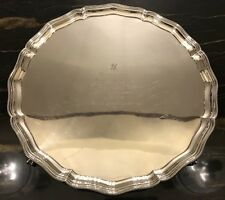 Vintage Elizabeth II Large Sterling Silver Footed Salver Or Tray 1972 Over 1kg