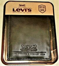 MEN'S WALLET LEVI STRAUSS LOGO LEATHER & MAN MADE with RFID PROTECTION NEW BOXED