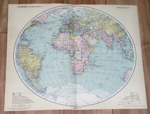 1926 ORIGINAL VINTAGE MAP OF THE WORLD EASTERN HEMISPHERE AFRICA ASIA EUROPE