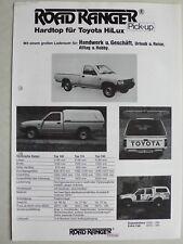 Prospetto Roadrunner hard top-anche da viaggio mobile per TOYOTA HILUX, circa 1990, 2 pag.