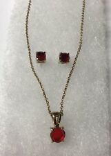 WOMEN'S SET NECKLACE AND EARRINGS GOLD TONE WITH SIMULATED RED RUBIES
