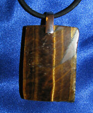 Tigers Eye stone pendant leather necklace healing jewelry yellow golden  big