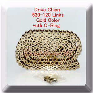 Drive Chain Gold Color 530 x120 Link (With O-ring) For Harley Honda Kawasaki