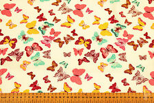 100% COTTON PRINTED FABRIC - MULTI COLOURED BUTTERFLY ON WHITE BACKGROUND
