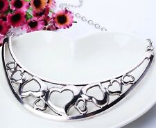 Fashion Lady Hollow Out Chaplet Chain Collar Heart Bronze Tibet Necklace Silver