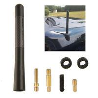 Universal Black Real Carbon Fiber Aluminum Short Screw-On Mast Car Antenna Set C