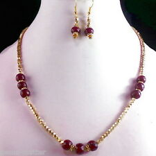 """158 CT NATURAL FINEST RUBY & 14K YELLOW GOLD POLISHED 19"""" INCHES LONG NECKLACE~"""
