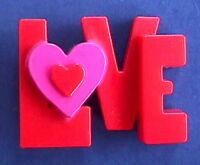 Hallmark PIN Valentines Vintage LOVE HEART WORD Block Letters Holiday RARE