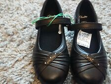 Clarks Movello8 Girls Black Leather School Shoes SIZE 10.5 F Kids Brand New