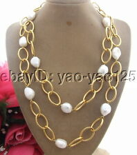 "39"" 15mm Baroque Pearl Necklace chain long necklace"