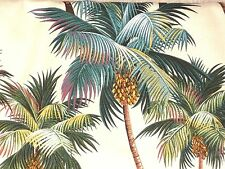 PAIR! 28x27 Tropical Hawaiian Cotton Barkcloth Fabric CAFE' CURTAINS ~Palm Tree~