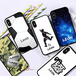 Personalised Name Phone Case Black Boys Cover For iPhone 12 11 8 7 MAX XR X XS