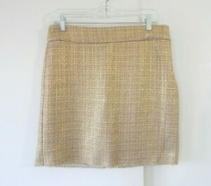 womens multi color BANANA REPUBLIC skirt metallic plaid tweed mini straight M 8