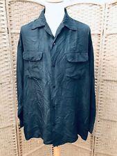 Vintage  Men's Shirt L black 100% Silk long sleeve XL  44 46 48 c CIRO CITTERIO