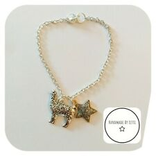 Llama Alpaca Charm Bracelet 💕 Handmade ✨ 21cm ⚡Silver Plated✨glitter star