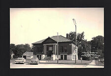 Osage Iowa Ia 1950s Rppc Sage Public Library Building Autos Bicycle