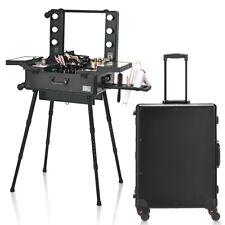 Rolling Cosmetics Case Mirror Telescoping Legs 6 Led Lights Portable Black
