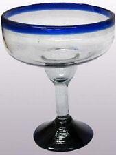 Mexican Glassware - Cobalt Blue Rim large margarita glasses (set of 6)
