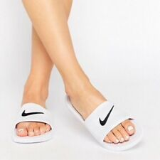 best service 9198e 8b5bf Womens Nike Benassi Shower Slide Sandals White Black Uk Size 6.5 819703-100