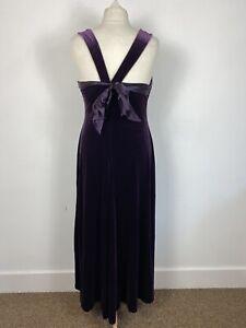 Kaleidoscope Purple Velvet Long Full Length Evening Party Ball Gown Size 16