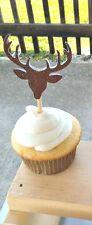 Buck Deer Antler Glitter Cupcake Toppers 12 ct