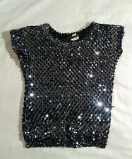 sequence blouse black silver shiny toppettes acrylic acetate cotton rubber