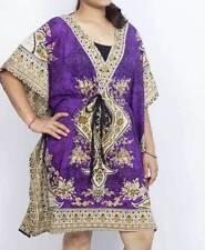 New Women's Kaftan,Tunic,Hippy Robe Mini Dress Plus Size Beach Dress Purple Top