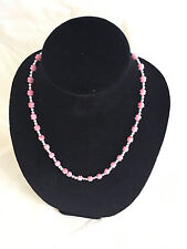 6 x 8 mm Carved Dyed Coral Necklace with Silver Plated Spacers 20 inches