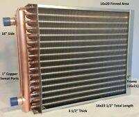 """16x20 Water to Air Heat Exchanger~~1"""" Copper Ports w/ EZ Install Front Flange"""