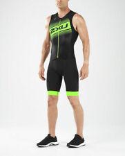 New 2XU Men Compression Full Zip Tri Suit MEDIUM Black Green Triathlon Suit