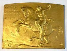 "ITALY GOLD GILDED BRONZE PLAQUE 1910 - 3"" X 2 1/4"""