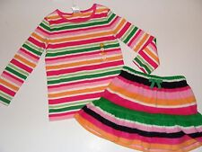 Gymboree Cheery All The Way Girls Size 3 Stripe Top Stripe Skirt NEW NWT