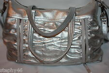 NWT! COLE HAAN BAILEY II East West Zippered Ruched Tote Bag Silver B33421 $398