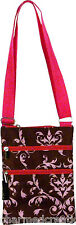 Damask Print Cross Body Purse Shoulder Passport Sling Messenger Bag Pink & Brown