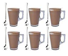6 x 240ml caffè Tall Vetro Chiaro Cafe Latte Macchiato CAPPUCCINO TAZZA COPPA & 6 CUCCHIAI