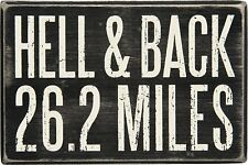 "Hell and Back 26.2 Miles Marathon Runner Box Sign Primitives By Kathy 4"" x 6"""