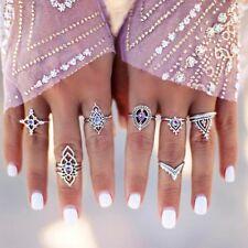 Retro 7Pcs/ Set Silver Boho Fashion Hollow Flower Midi Finger Knuckle Rings