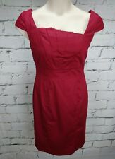Ojay Dress Size 12 Crimson Red Cap Sleeves Career Occasion Stretch Cotton Blend