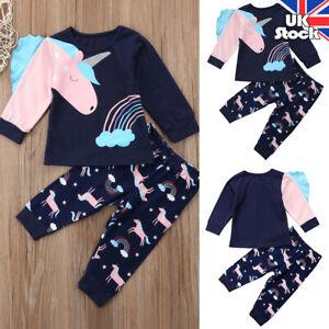 UK Toddler Kids Baby Girls Unicorn Tops Pants Leggings Outfits Tracksuit Pajamas