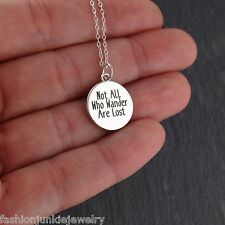 Explore Necklace - 925 Sterling Silver - Not All Who Wander Are Lost Pendant NEW
