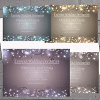 Winter Wedding Evening Day Reception Invitations Invites x 12 +env Sparkle H1549