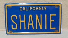 VINTAGE MINI CALIFORNIA SHANIE LICENSE PLATE NAME TAG SIGN BICYCLE